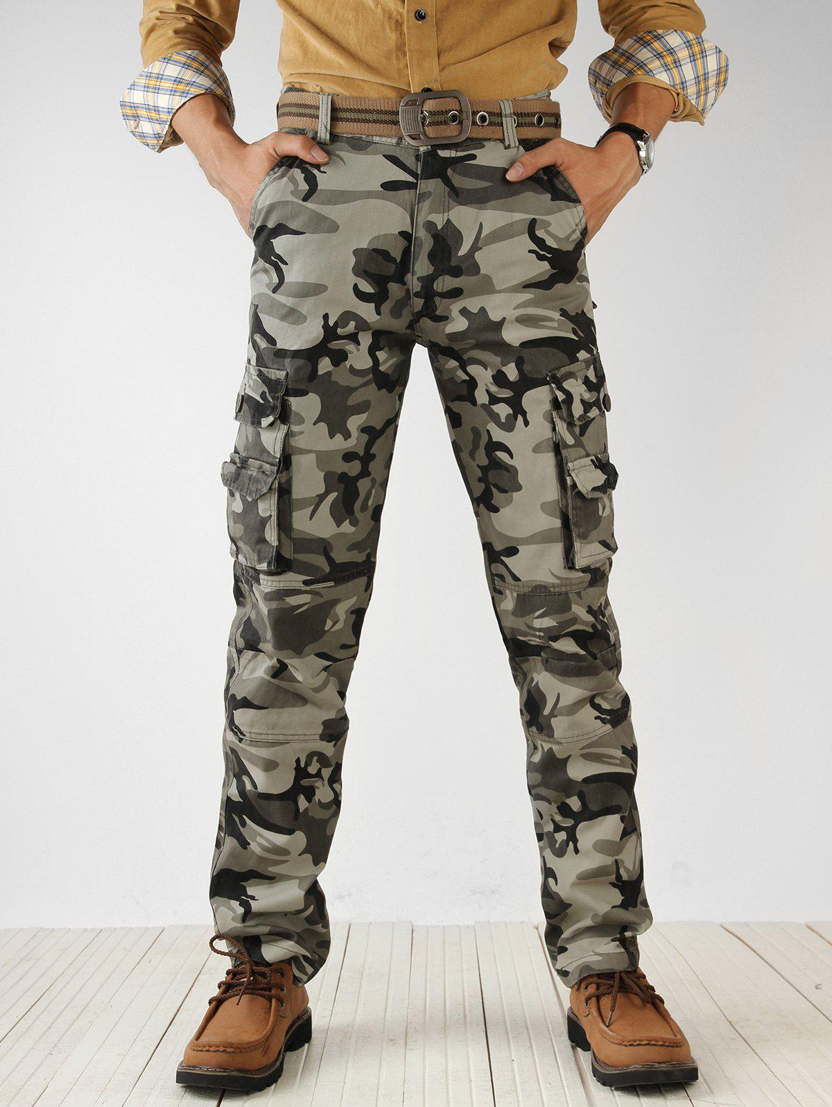 Outfits Camouflage Print Multi Pockets Cargo Pants
