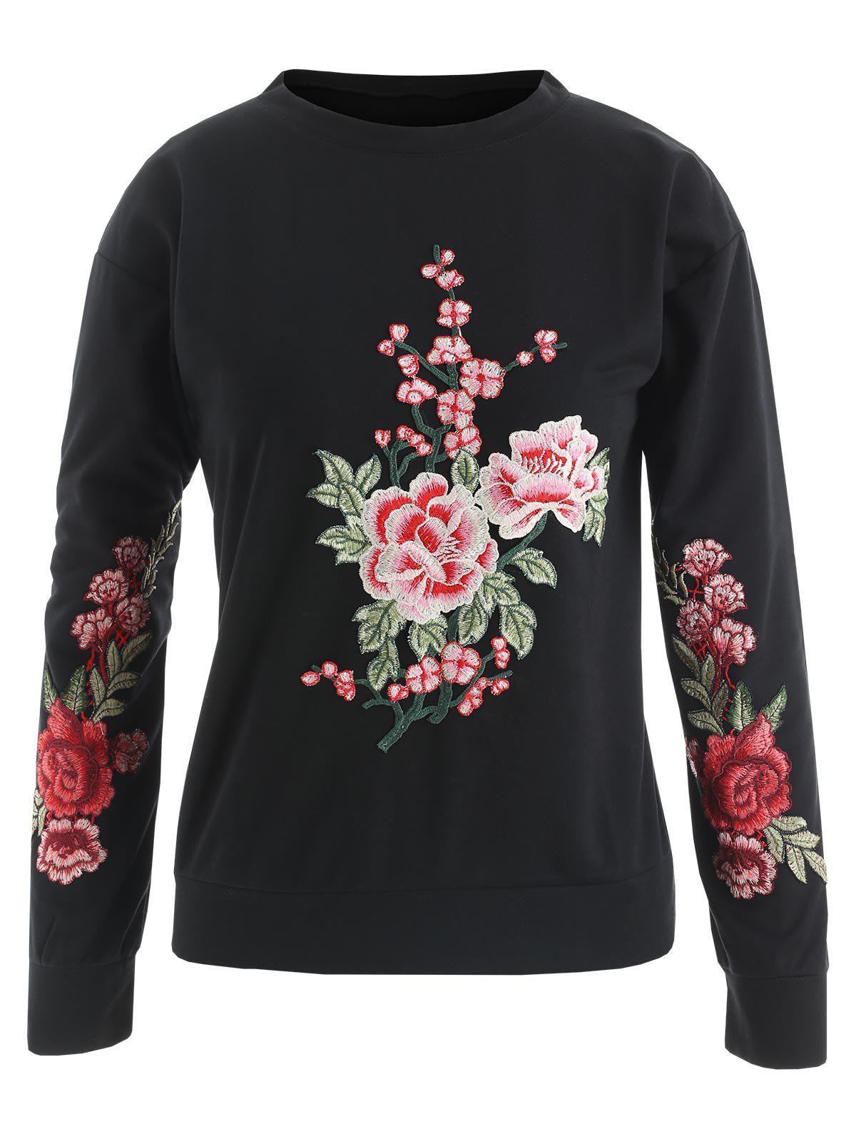 Unique Floral Embroidered Pullover Sweatshirt