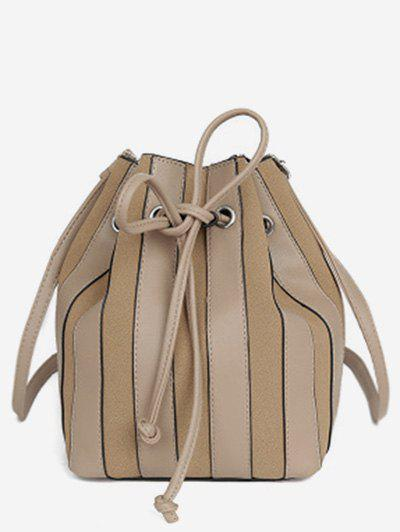 Affordable String Design Striped Bucket  Bag