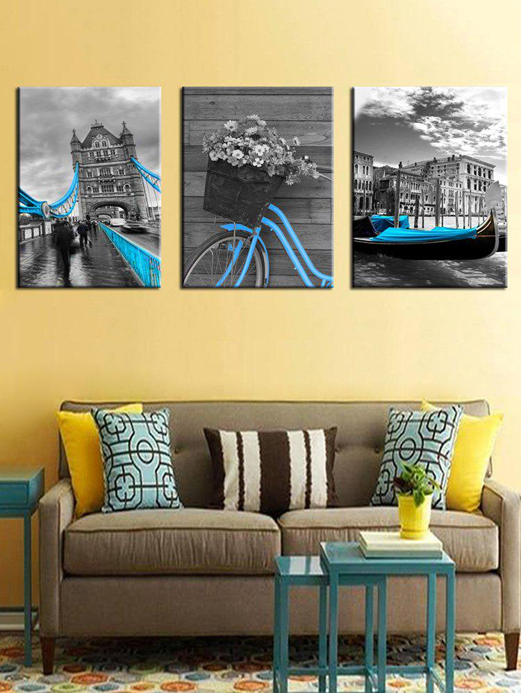 Chic Vintage Building Print Unframed Split Canvas Paintings