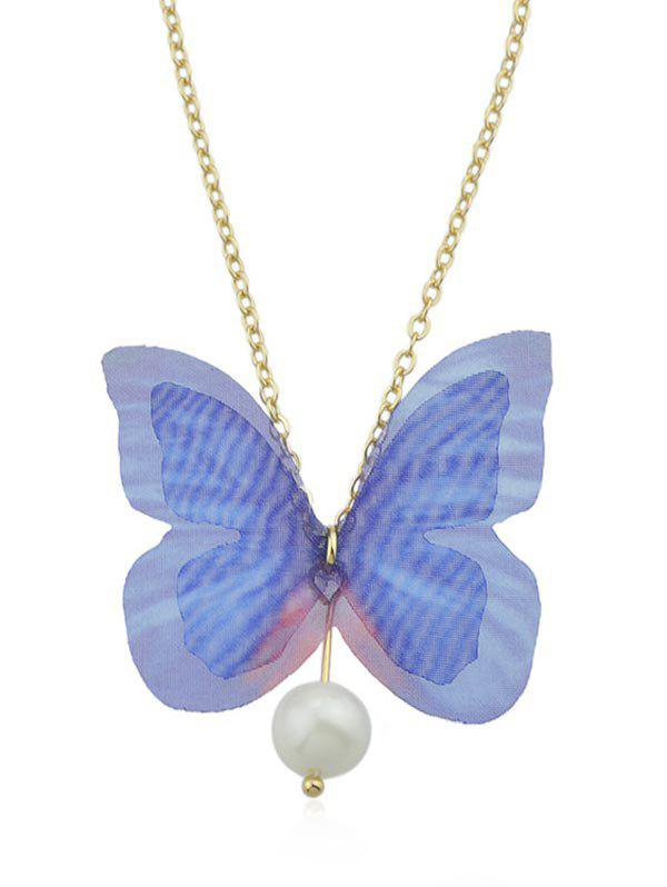 Latest Artificial Pearl Butterfly Pendant Chain Necklace