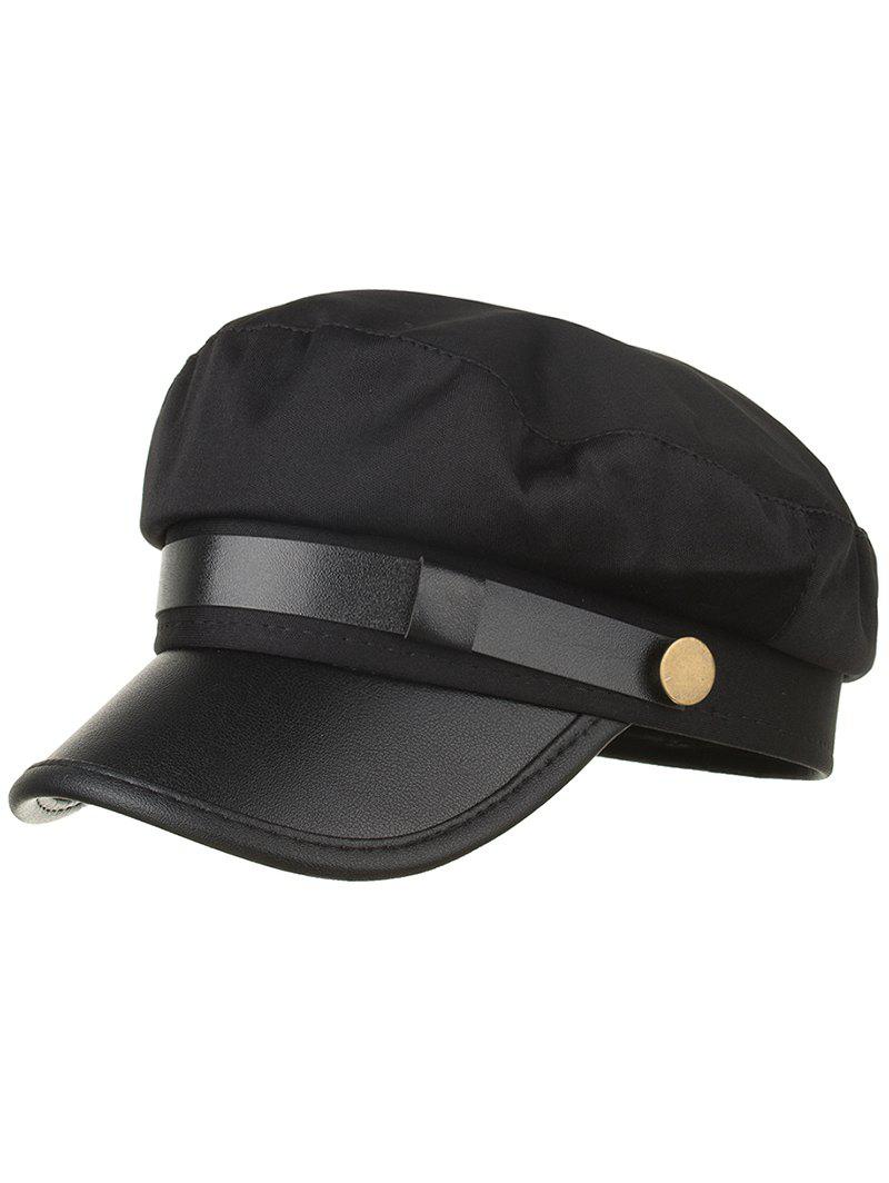 Shop Solid Color PU Leather Flat Top Hat