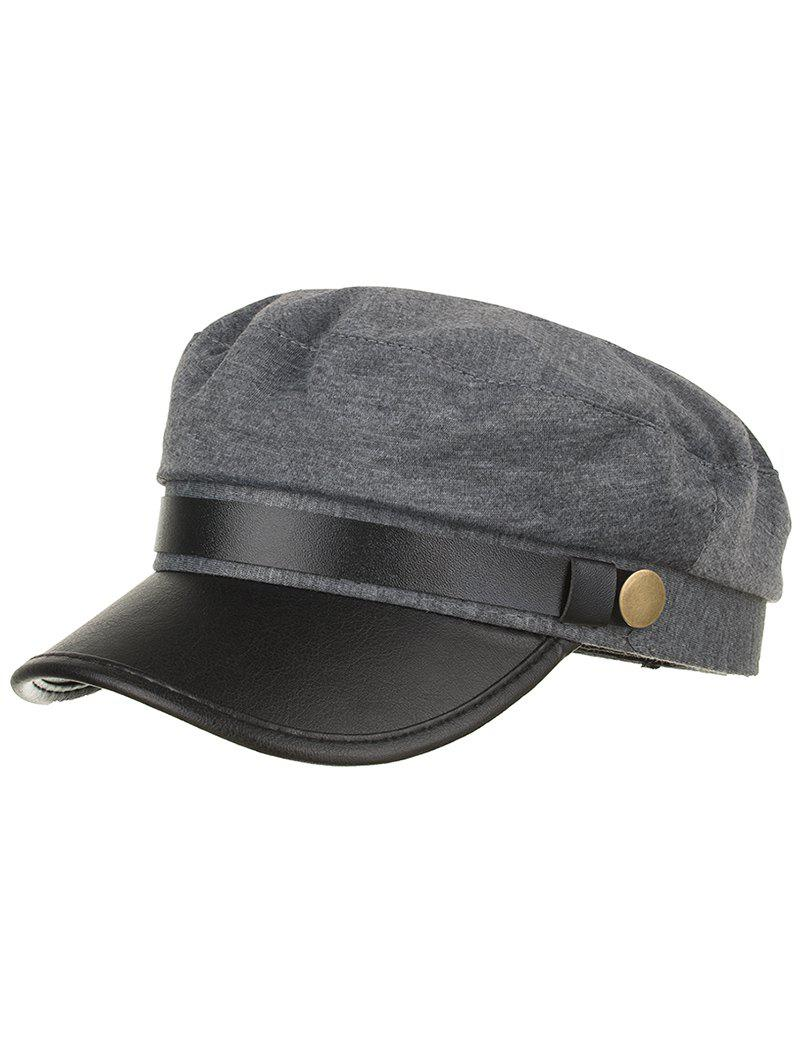 Fancy Solid Color PU Leather Flat Top Hat