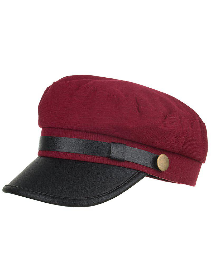 Unique Solid Color PU Leather Flat Top Hat