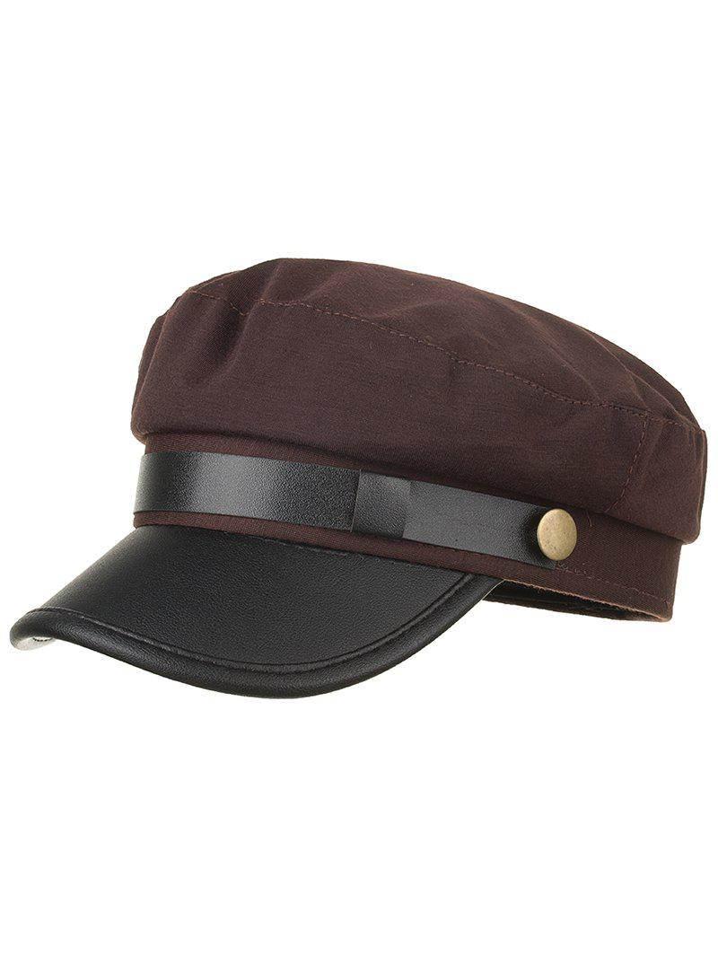 Outfits Solid Color PU Leather Flat Top Hat