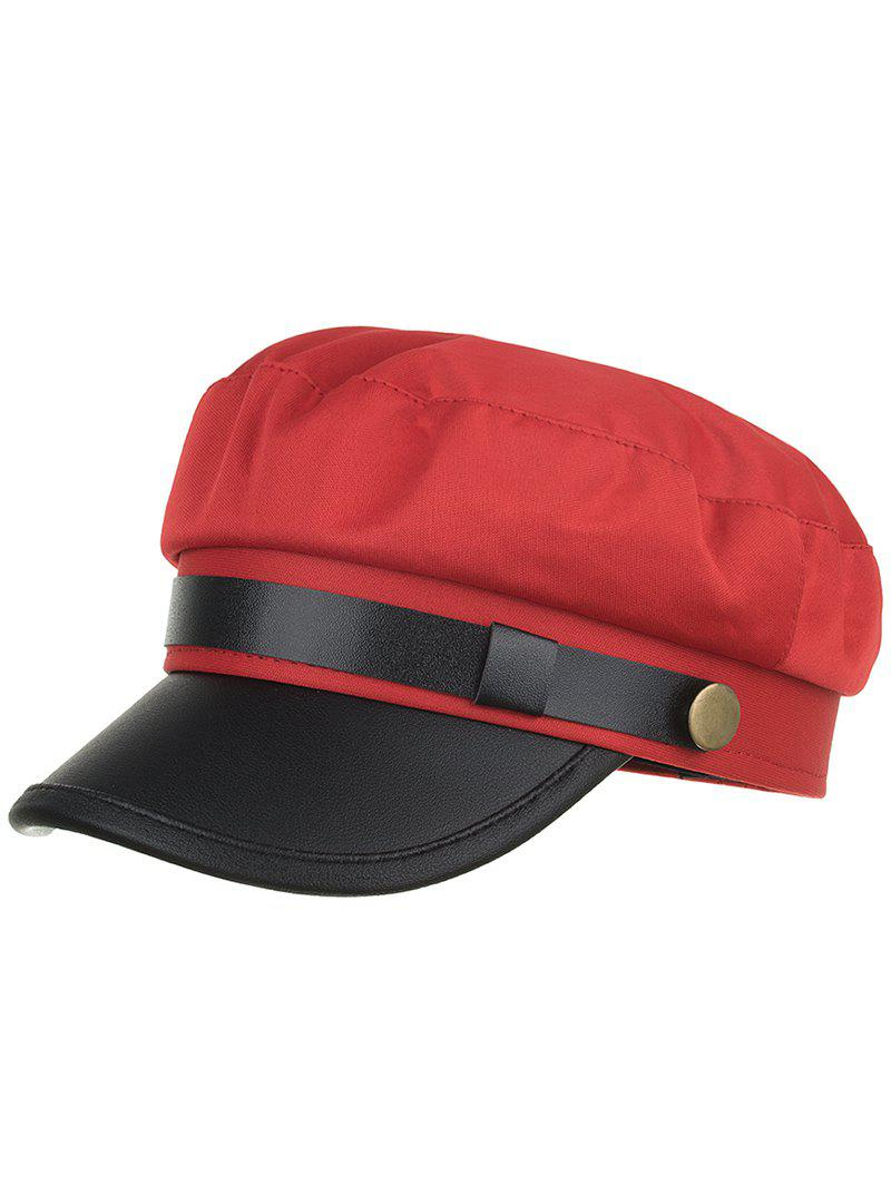 Fashion Solid Color PU Leather Flat Top Hat