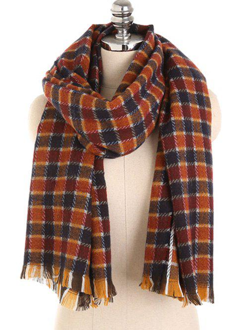 Fashion Checked Pattern Decorative Fringed Long Scarf