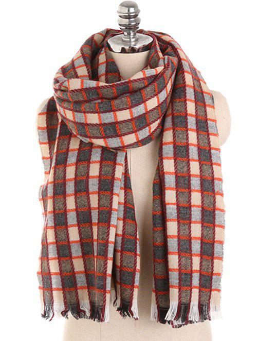 Unique Checked Pattern Decorative Fringed Long Scarf