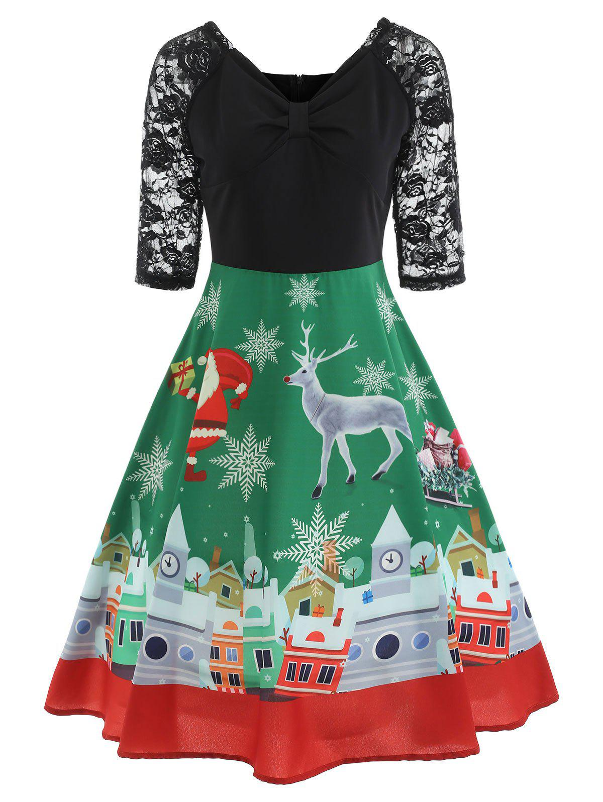 Trendy Christmas Lace Panel Vintage Swing Dress