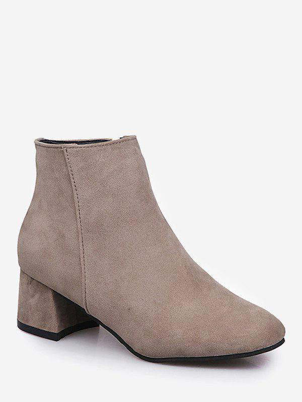 Online Square Toe Solid Color Ankle Boots