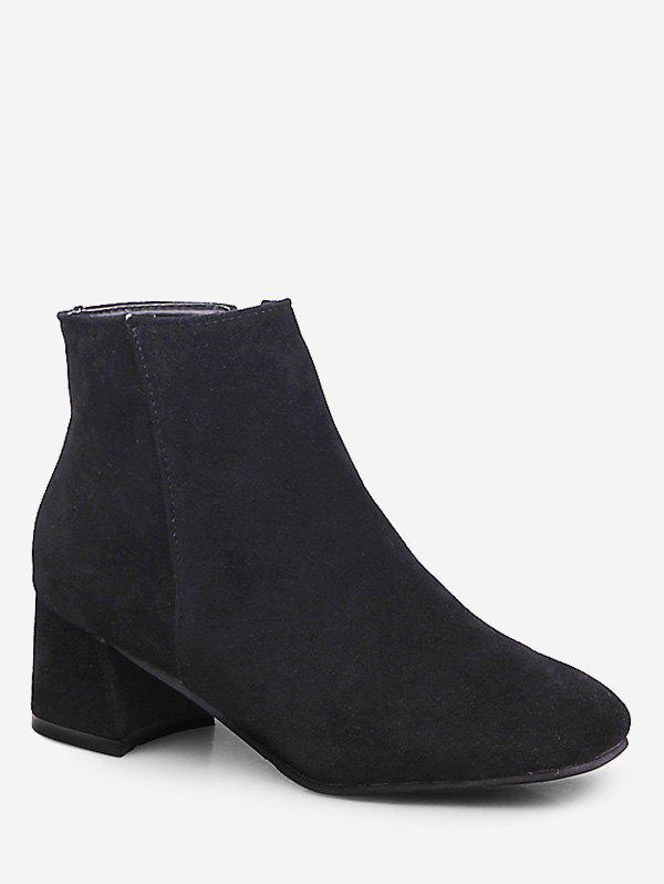 Cheap Square Toe Solid Color Ankle Boots