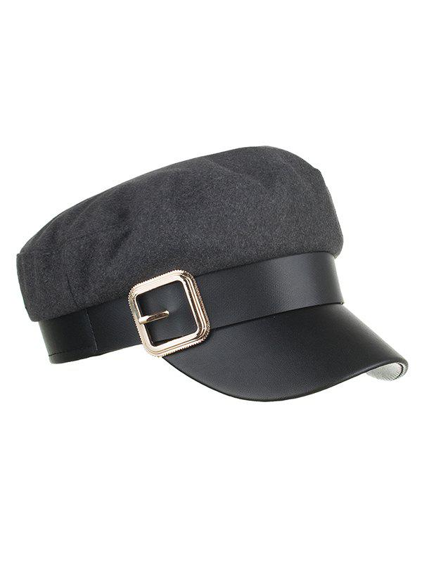 Discount Square Buckle PU Leather Flat Top Hat