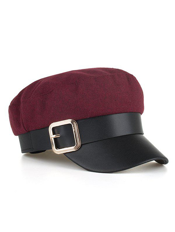 Fashion Square Buckle PU Leather Flat Top Hat