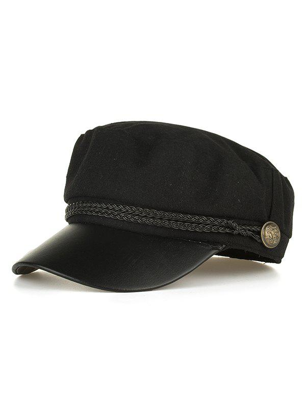 Buy PU Leather Braided Band Flat Top Hat