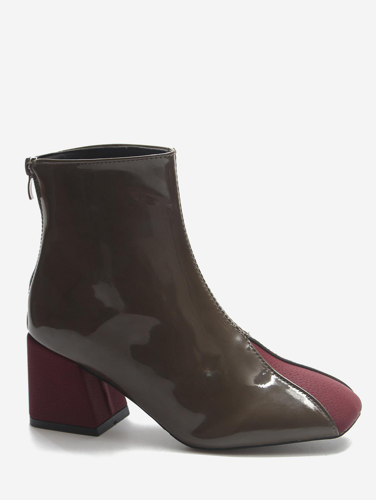 Store Color Block Chunky Heel Ankle Boots