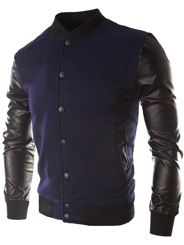 Outfit Faux Leather Sleeve Button Placket Jacket