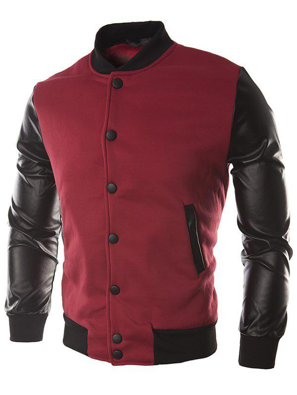 Best Faux Leather Sleeve Button Placket Jacket