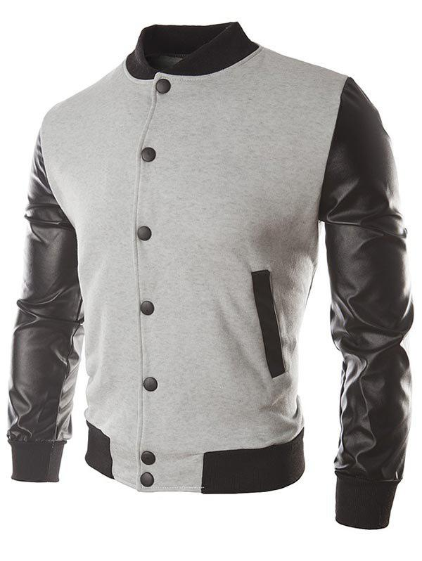 Discount Faux Leather Sleeve Button Placket Jacket