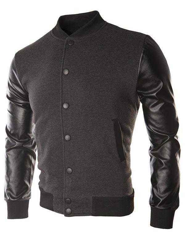 Latest Faux Leather Sleeve Button Placket Jacket