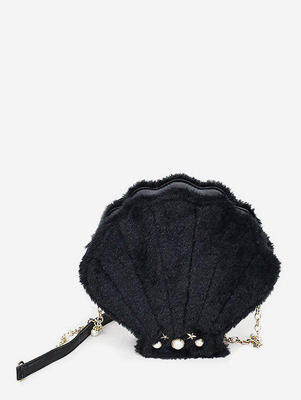 Sale Faux Fur Pearl Shell Shape Crossbody Bag