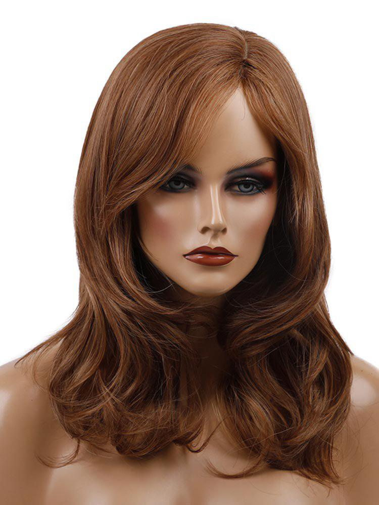 Trendy Medium Side Parting Wavy Synthetic Wig