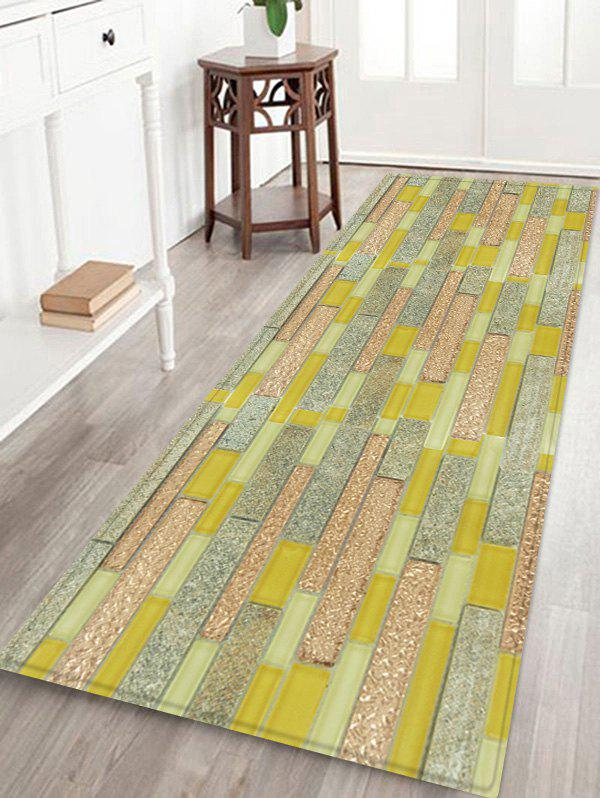 Latest Color Block Pattern Decorative Flannel Bath Rug