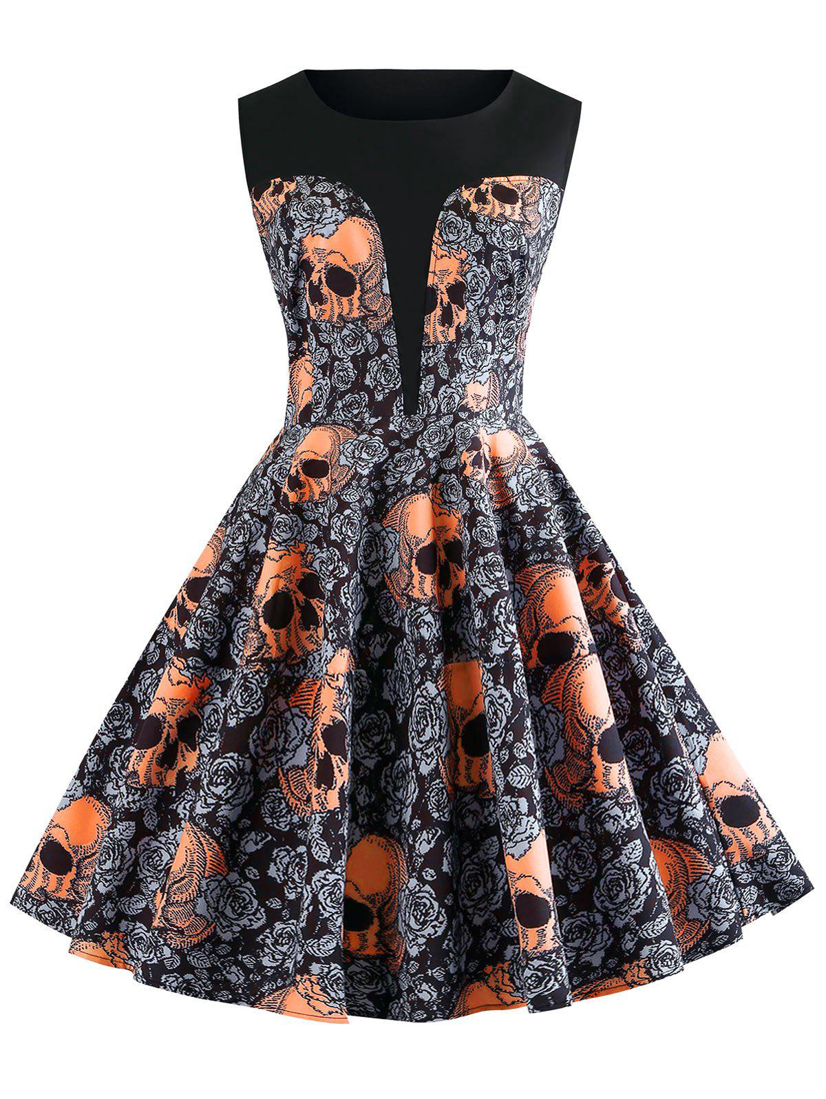 affordable vintage skull and floral print halloween a line dress