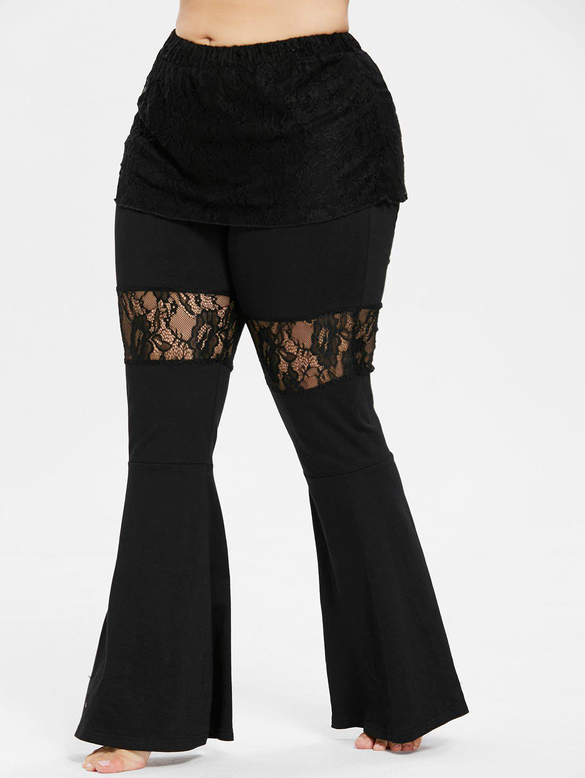 Unique Plus Size Lace Skirted Flare Pants