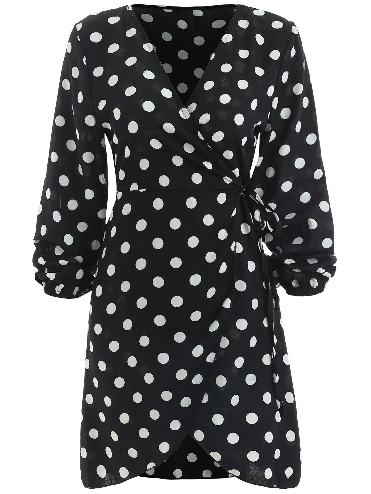 Unique Long Sleeve Polka Dot Wrap Dress