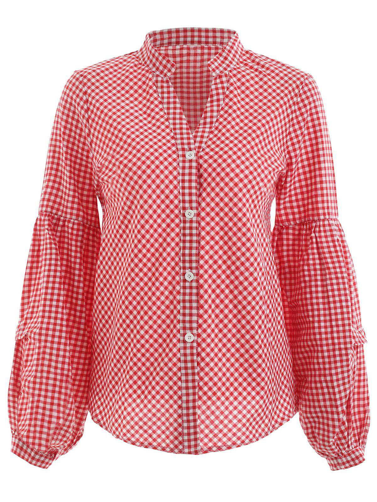 Fancy Gingham Print Balloon Sleeve Shirt