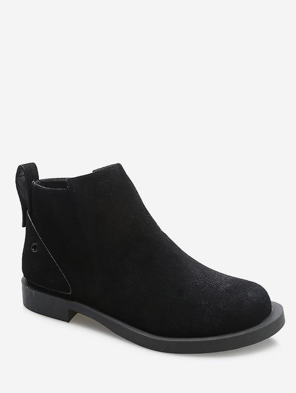 Best Round Toe Suede Flat Ankle Boots