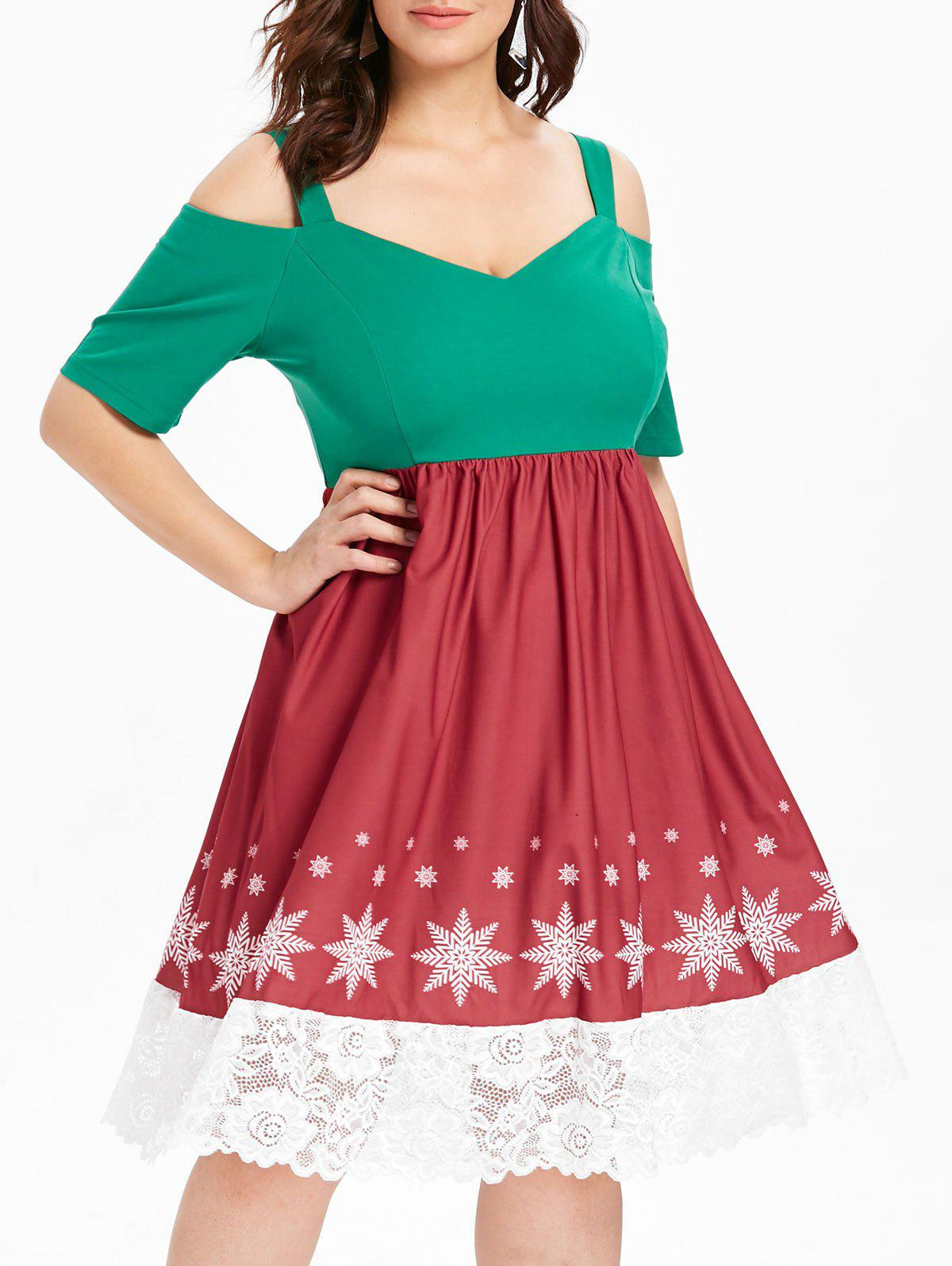 Plus Size Lace Panel Christmas Dress