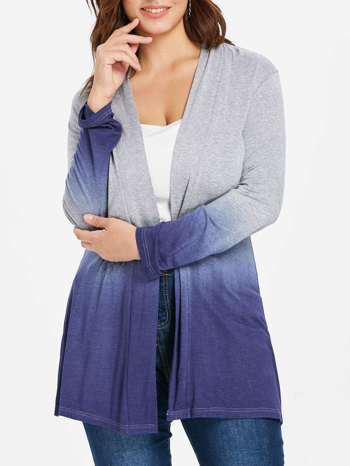 Store Collarless Plus Size Ombre Coat
