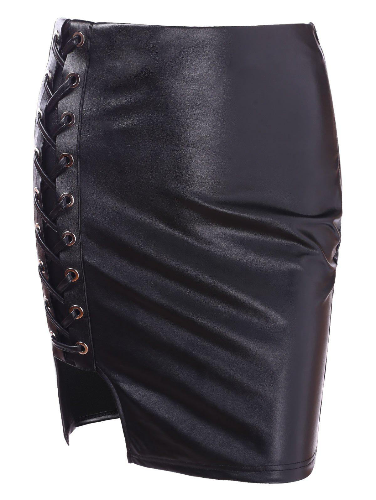 Trendy High Rise Faux Leather Lace Up Skirt
