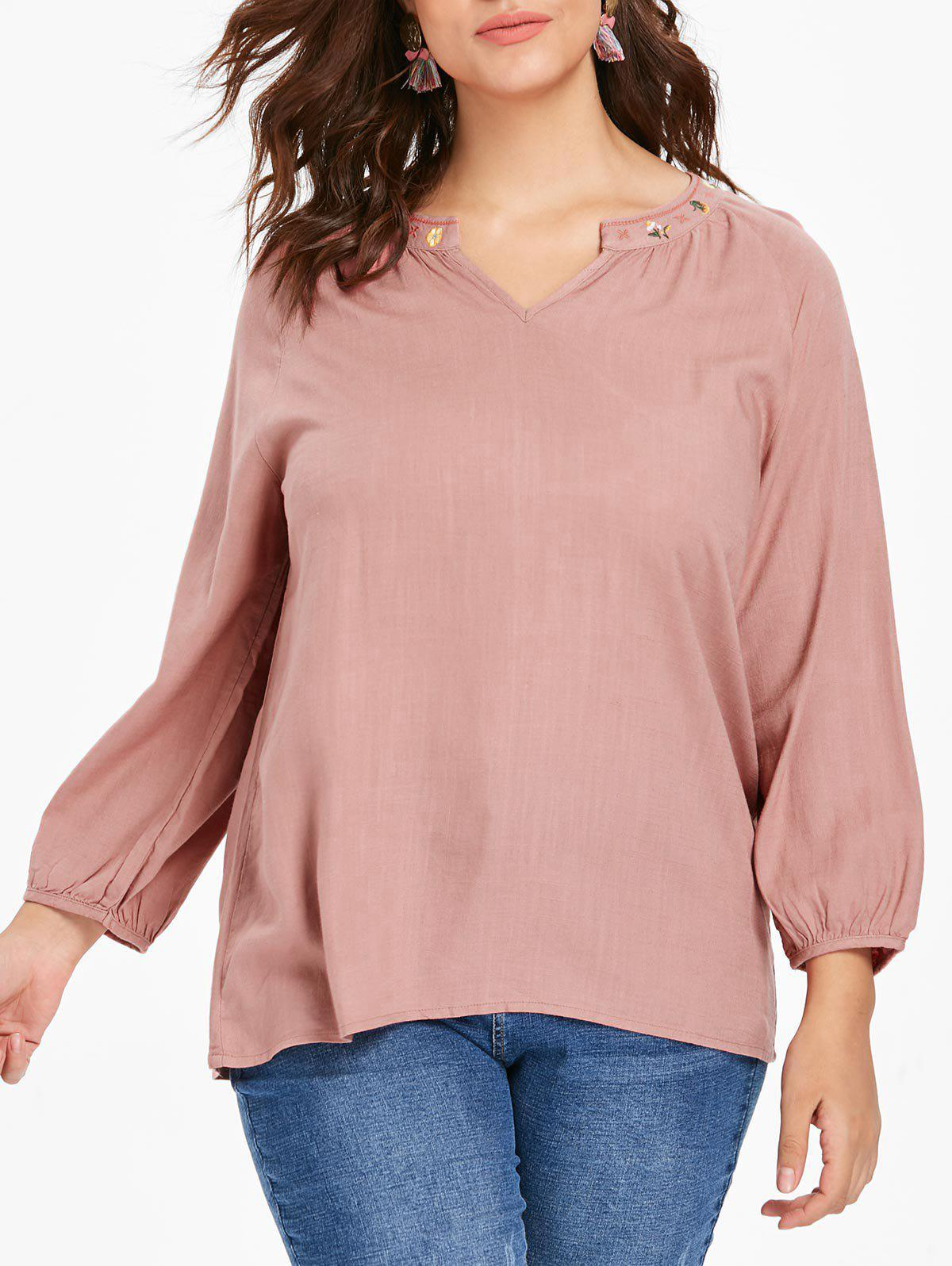 Store Plus Size Embroidered High Low Blouse