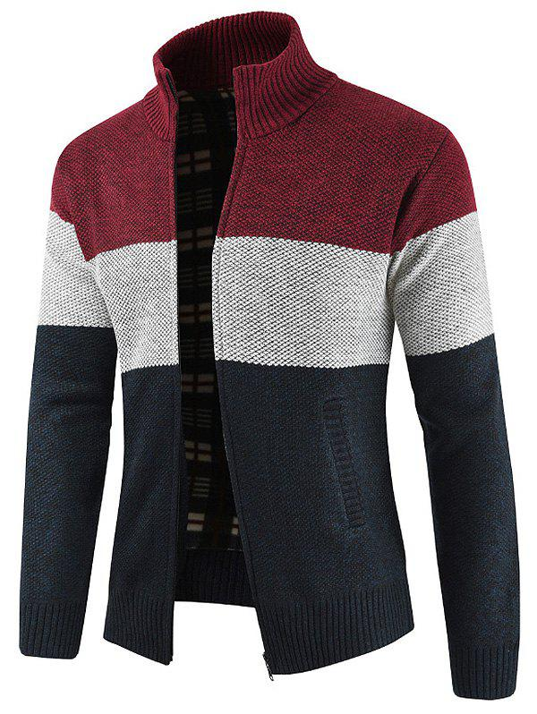 Unique Bold Stripe Zipper Placket Sweater