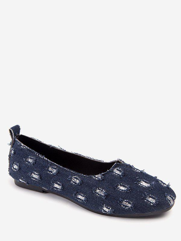 Latest Leisure Ripped Denim Round Toe Flats