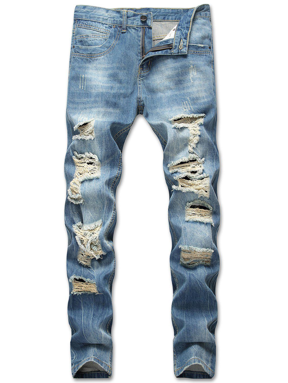 Best Zipper Pockets Destructed Whiskers Jeans