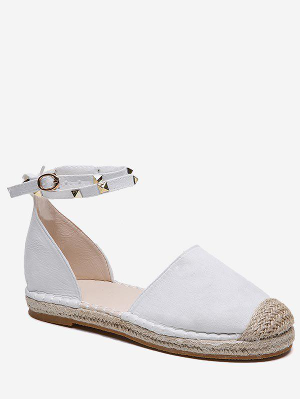 Unique Ankle Wrap Straw Braided Flats