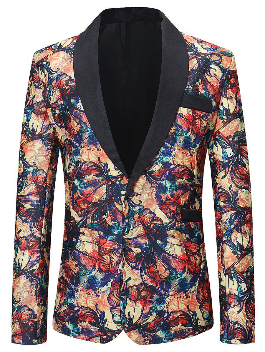 Sale Graffiti Flowers Pattern One Button Lightweight Blazer