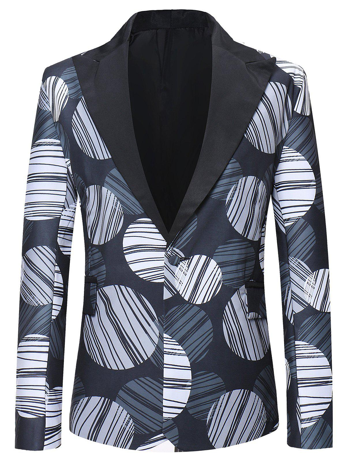 Chic Round Striped Pattern One Button Blazer
