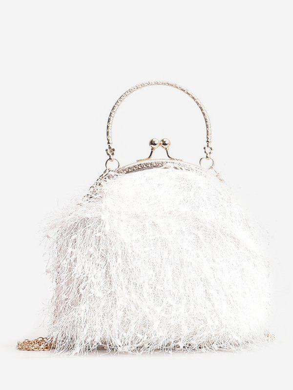 Fashion Metal Handle Faux Fur Chain Crossbody Bag