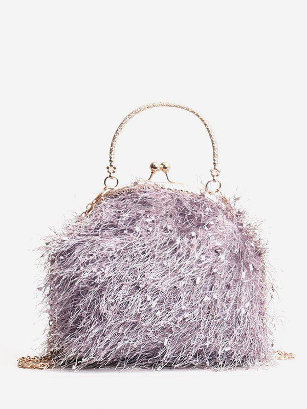 Outfit Metal Handle Faux Fur Chain Crossbody Bag