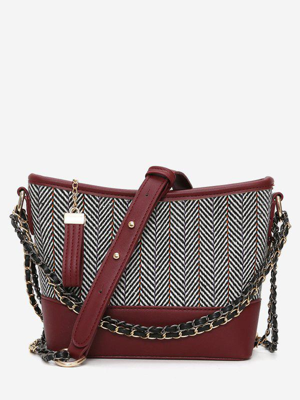 New PU Leather Striped Print Crossbody Bag