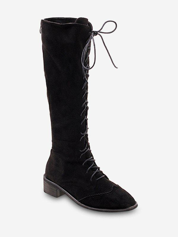 Hot Chunky Heel Suede Knee High Boots