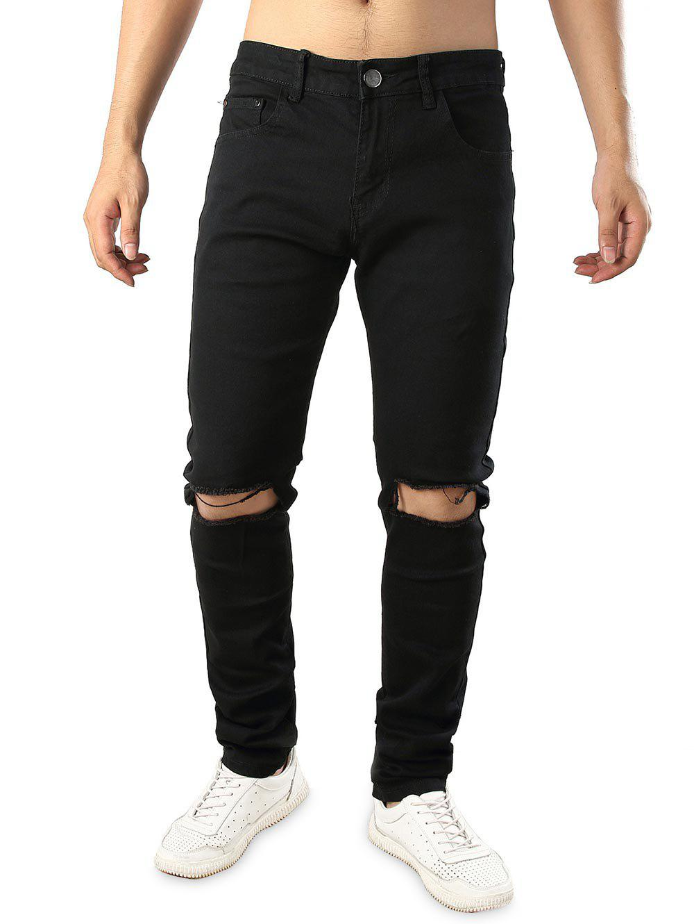 Buy Zipper Fly Whickers Casual Ripped Jeans