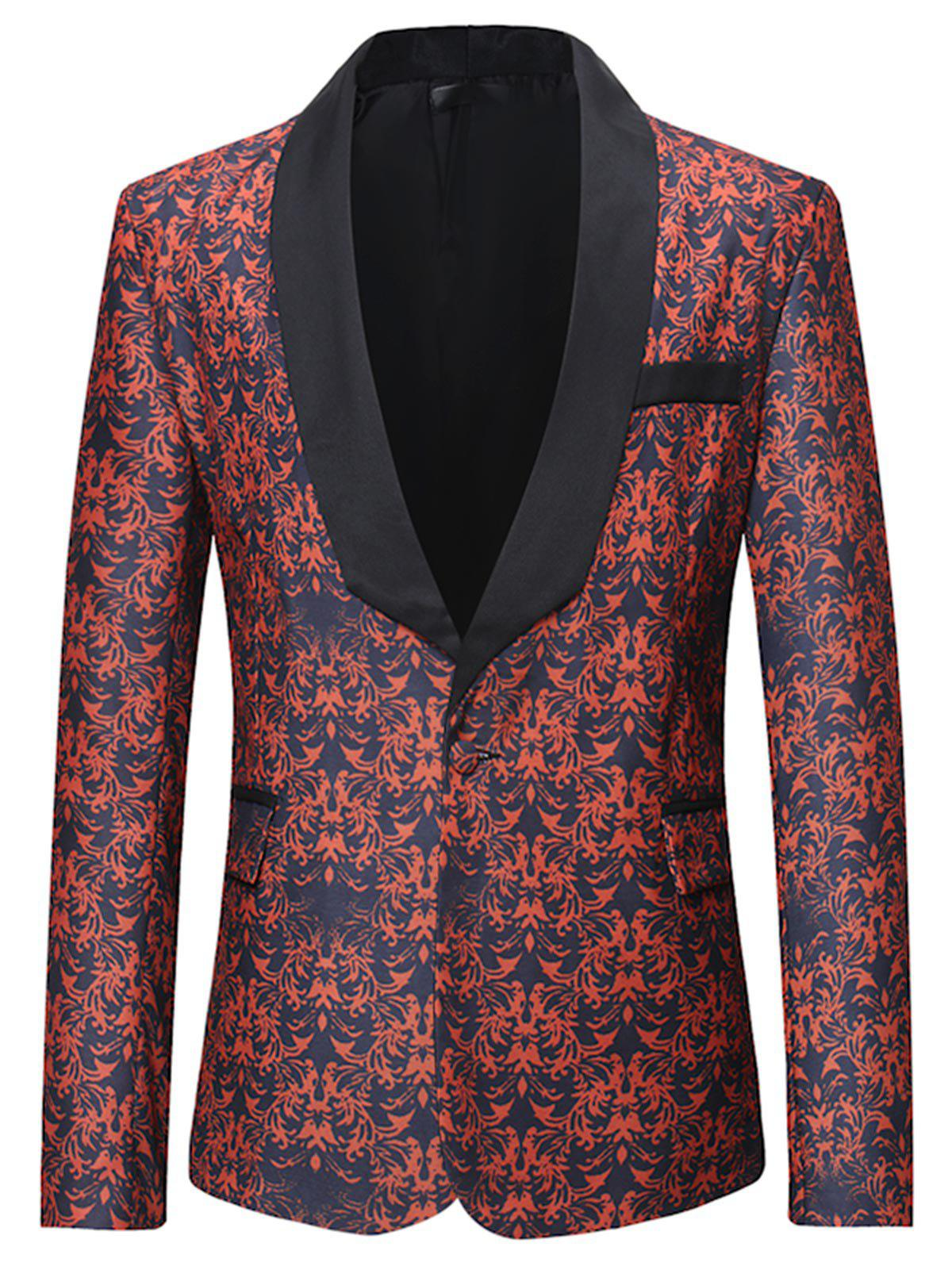 Discount One Button All-over Printed Pattern Blazer
