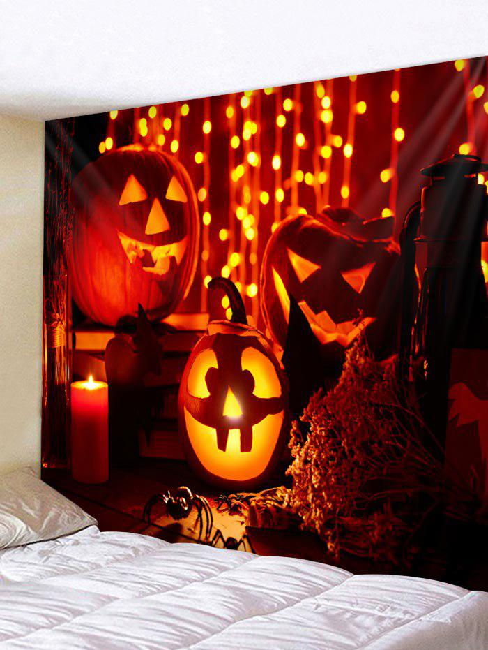 Discount Halloween Pumpkin Candle Printed Wall Tapestry Art Decor