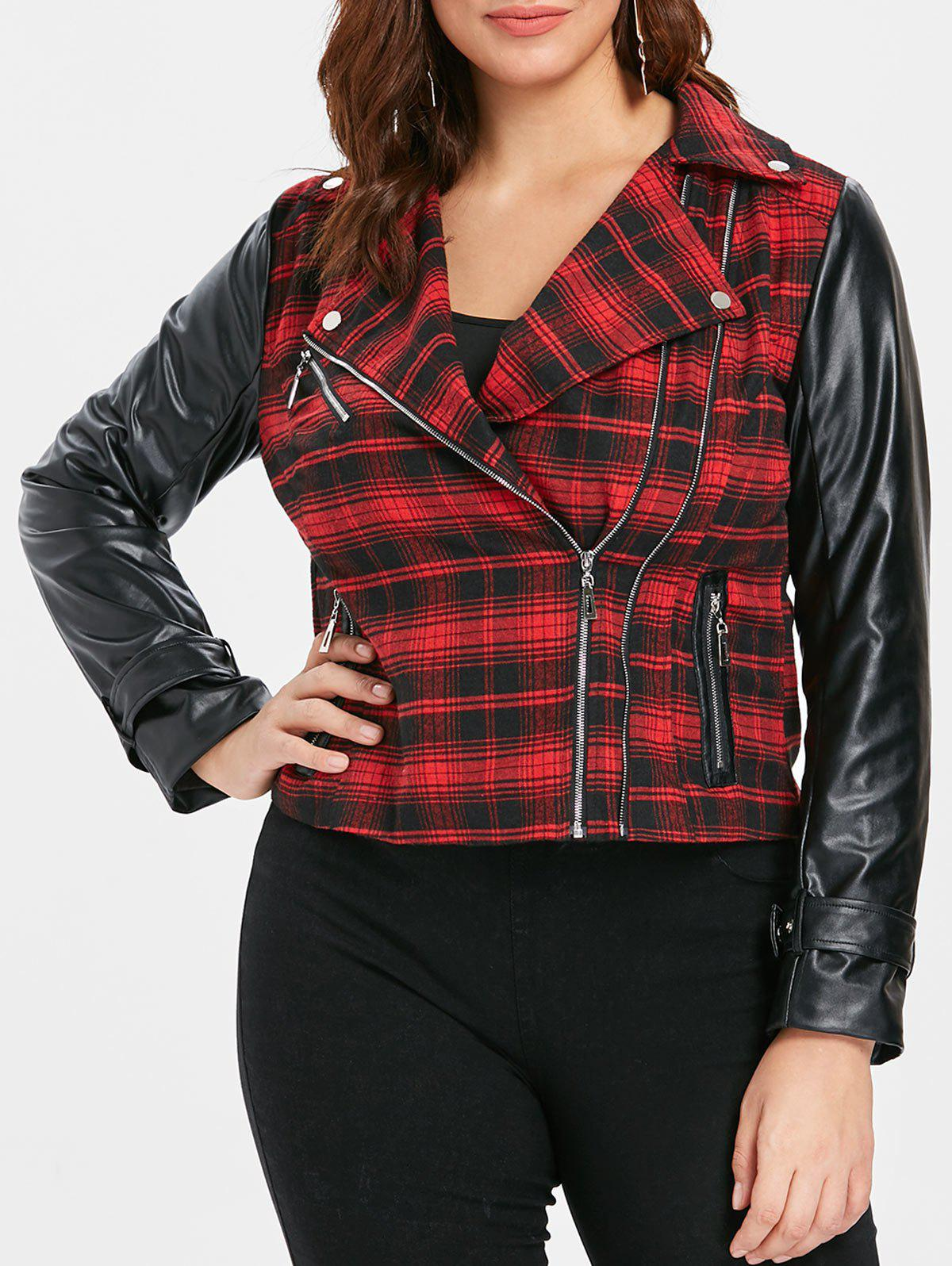 Trendy Plus Size PU Panel Zip Front Plaid Jacket