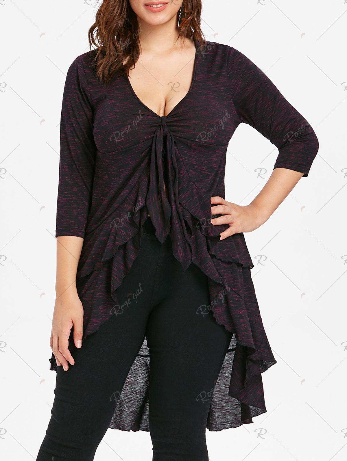 Outfits Plus Size Flounced Layered High Low T-shirt